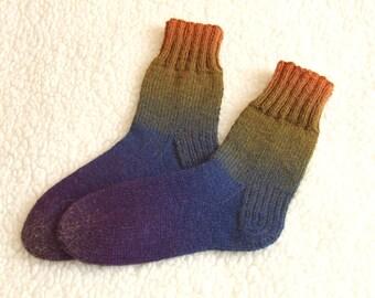 Hand Knitted men  socks Winter socks Colorful socks ski socks wool  socks - Size US 9-10 EUR 42-43