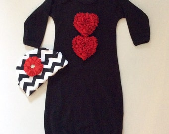 Baby  girl layette gown in black with chiffon heart and matching beanie hat
