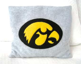 FREE SHIPPING Microwave Heating Pad Cherry Stone Filled Fleece Pillowcase with Iowa Hawkeyes Appliqué