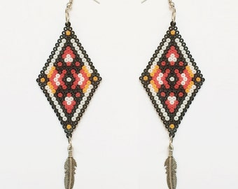 Long Beaded Earrings Huichol Art