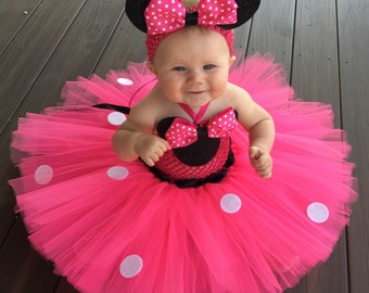 Classic Minnie Mouse Inspired Tutu Dress, Minnie Mouse Costume, Minnie Mouse Birthday Outfit, Hot Pink Minnie Mouse, Pink Minnie Mouse