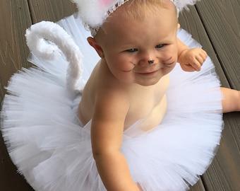 Pretty Persian Kitty Cat Costume, White cat Tutu Costume, White Kitty Costume, Tutu Halloween Costume, Infant Toddler Halloween Costume