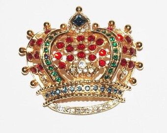 Kenneth Jay Lane Red Crown Pin - S1370
