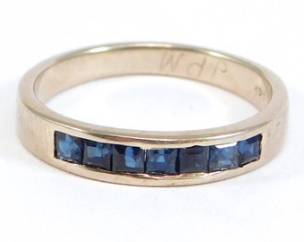 14K White Gold Channel Set Natural Sapphire Band Deco