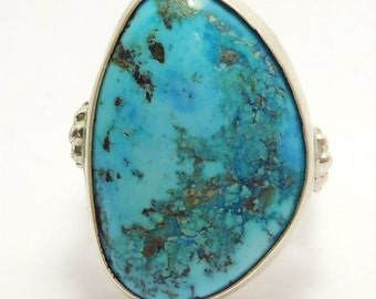 Large Turquoise & Silver Ring Vintage Southwest