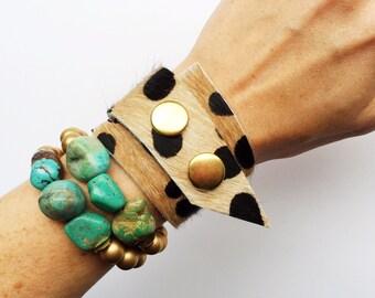 Asymmetrical Calf Hair Cheetah Print Wrap Cuff Bracelet ~ Custom fit, Leord bracelet, cheetah bracelet, leather wrap, leather cuff