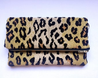 One of a Kind Woven Leopard Fold Over Clutch