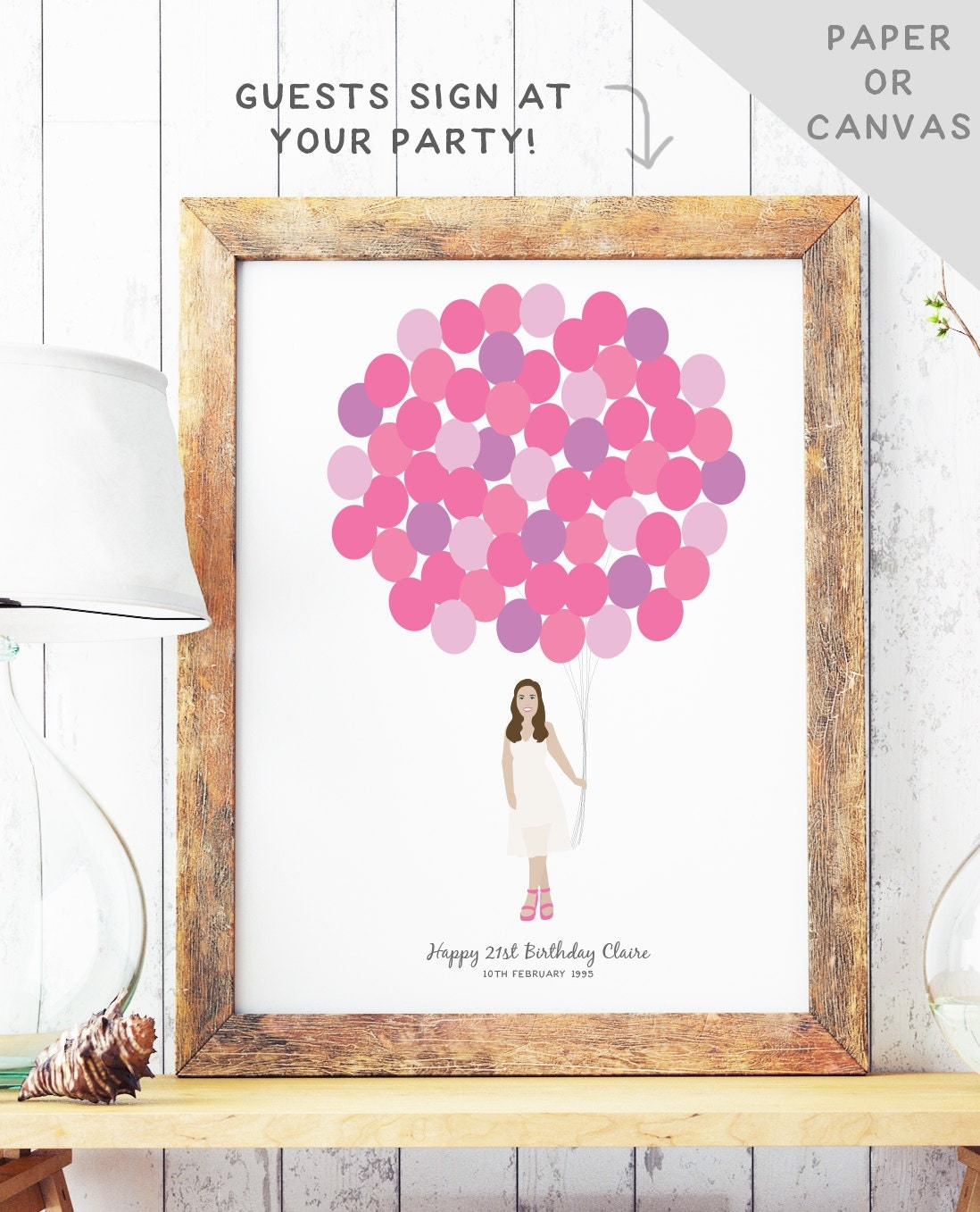 21 Ideas Guests Will: Birthday Guest Book Alternative 21st Birthday Party Guest