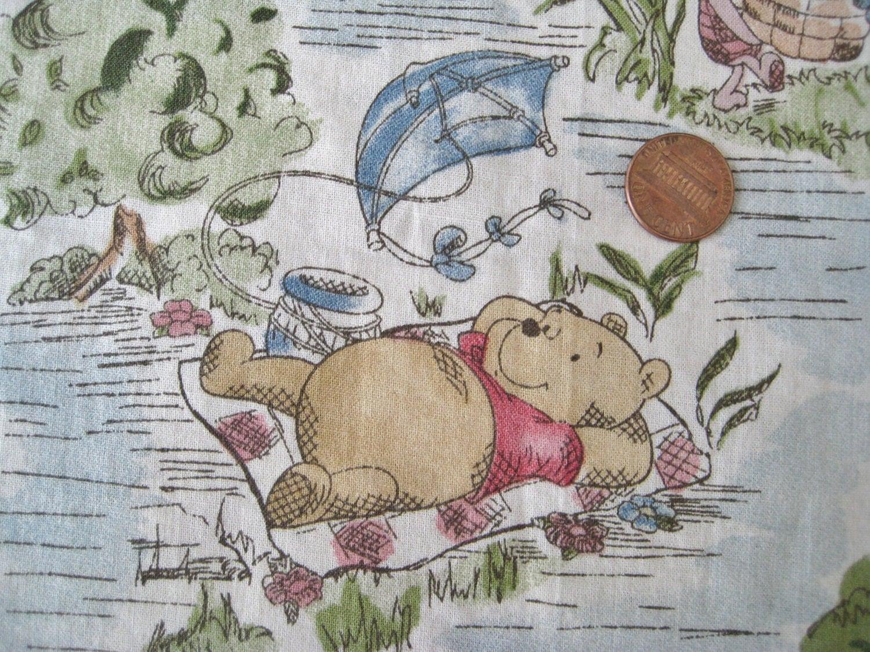 Vintage Disney Winnie The Pooh Fabric Pieces Nursery Baby