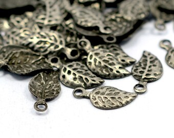 250 Pcs Antique Silver 13x6 mm Leaf Charms