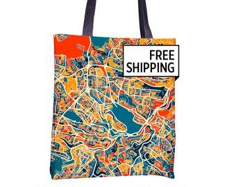 Amman Map Tote Bag - Jordan Map Tote Bag 15x15