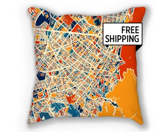 Bogota Map Pillow - Colombia Map Pillow 18x18