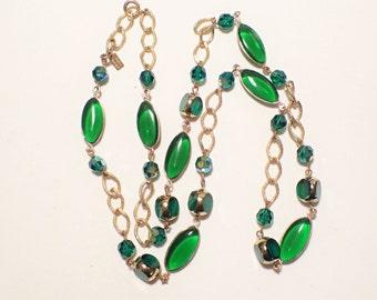 Hattie Carnegie Wire Wrapped Glass Bead Single Strand Necklace