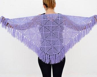 cape au crochet,purple vintage crochet shawl