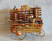 Music Box - Metal Sculpture - Flower Cart