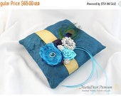 ON SALE READY To Ship Wedding Ring Pillow  in Teal, Gold, Purple and Turquoise with Handmade Flowers, Brooches and Peacock Feather