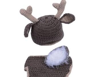 Newborn deer hat & diaper cover crochet