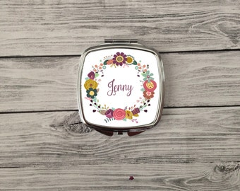 Personalized Name Bridesmaid gift- compact mirror. Makeup compact mirror. Great bridesmaids gift. Great for friends, mom or yourself!