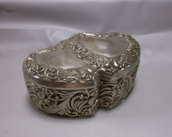 Reserved for Lorie Macon jewelry Box Trinket Box Vintage Silver Plate Hearts, Red Lined, Roses, Scrolls.epsteam
