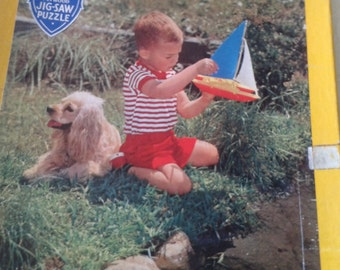 Children's Wooden Jigsaw Puzzle by Victory A Boy His Dog and A Boat