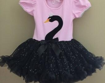 Swan pink and Black little girls dress
