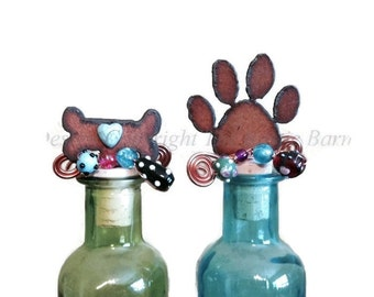 PAW Wine Bottle Cork Stopper Topper Rusted Metal Decorative
