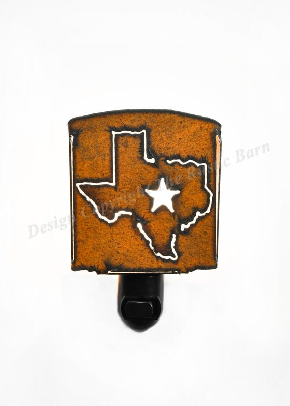TEXAS STATE with STAR nightlight night light made of Rustic Rusty Rusted Recycled Metal