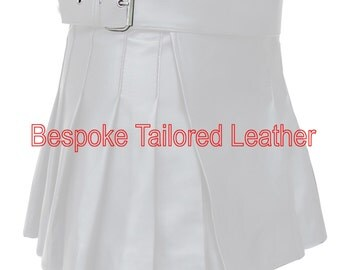 Leather Kilt with Buckle -  in White  BKLN002
