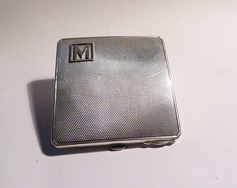 Solid silver compact mirrors  antique silver gifts MONOGRAM M INITIAL compact mirror silver 25th anniversary wedding presents