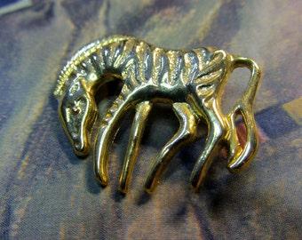 Vintage Gold Zebra Brooch
