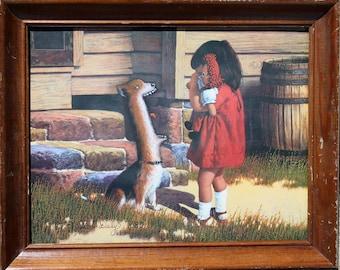 Repainted Thrift Store Art _ ORIGINAL _ Doggy Slobber Upsets Little Girl