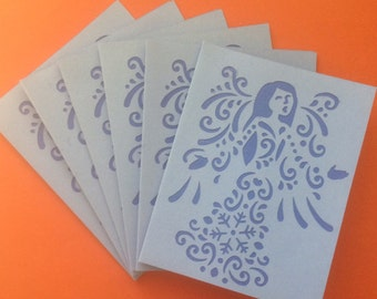 Pretty Layered Blue Angel Die Cut Note Cards
