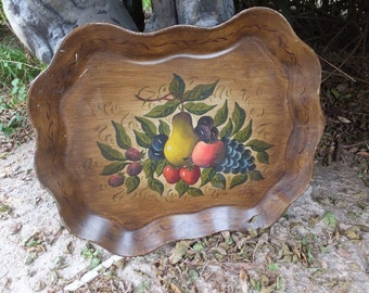 Vintage Handpainted Tole Tray, Rectangle Tray, Fruit Design,