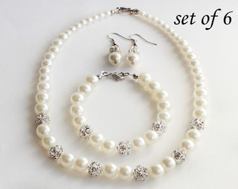 Bridesmaid jewelry set of 6, pearl necklace bracelet, pearl jewelry, ivory pearl, bridal jewelry, wedding gift, bridesmaid gift