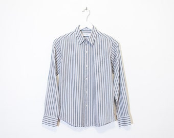 on sale - light grey striped CK button-up / basic long sleeve oxford shirt / size XS