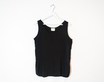 on sale - loose black silky tank top / basic sleeveless blouse / size M / L
