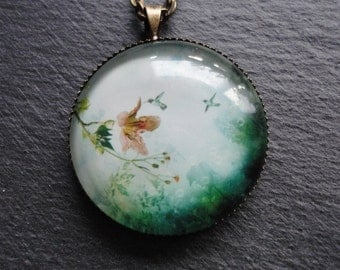 Necklace humming-bird  Glass