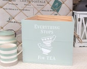Hand painted wooden crate - storage - Pale green Tea