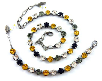 Steelers Colors Necklace, Black, Gold, Pittsburgh Steelers Fan Jewelry, Made With 8mm Swarovski Elements, Siggy Jewelry, FREE SHIPPING