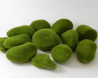 ONE Artificial Moss stones for fairy garden - miniature garden  - terrarium - or craft project supplies - faux moss rocks - floral supplies