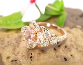 Round Peach sapphire - 14K Gold engagement Lotus Butterfly ring and optional wedding band - Wedding Bridal set