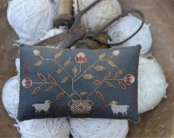 Primitive Cross Stitch - Wooly's Pinkeep - Pattern Only or Pattern w/Floss Kit