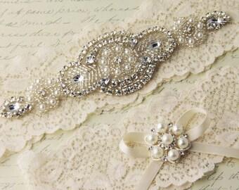 20% OFF Bridal Garter Set, Ivory Lace Garter Set, Wedding Garter Set, Ivory Stretch Lace, Rhinestone and Crystal garters