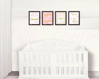 Pink & Gold Nursery Prints (Set of 4)- Instant Download