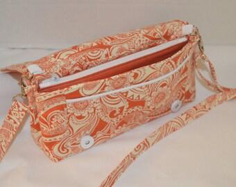 Brunt Orange tribal design-Convertible clutch, 3 pockets, Purse, Shoulder bag