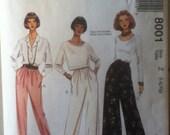 "McCall's Pants Pattern 8001   Size 16-22, Bust 40""-44"", Waist 32""-37"", Hip 42""-46""."