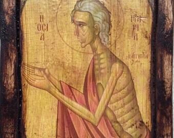 Saint St. Mary of Egypt - Orthodox icon on wood handmade (22.5cm x 17cm)