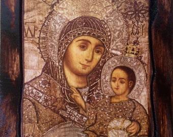 Virgin Mary - Bethlehem - Orthodox Byzantine icon on wood handmade (22.5 cm x 17 cm)