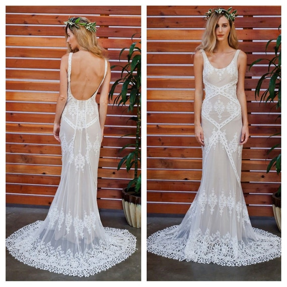 Bohemian Wedding Dress: Cecilia Lace Bohemian Wedding Dress Cotton Lace With OPEN