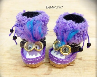 Super Cute Handmade Shoes for Blythe Lati Yellow Pukifee Doll - Cute Purple Monster Minion